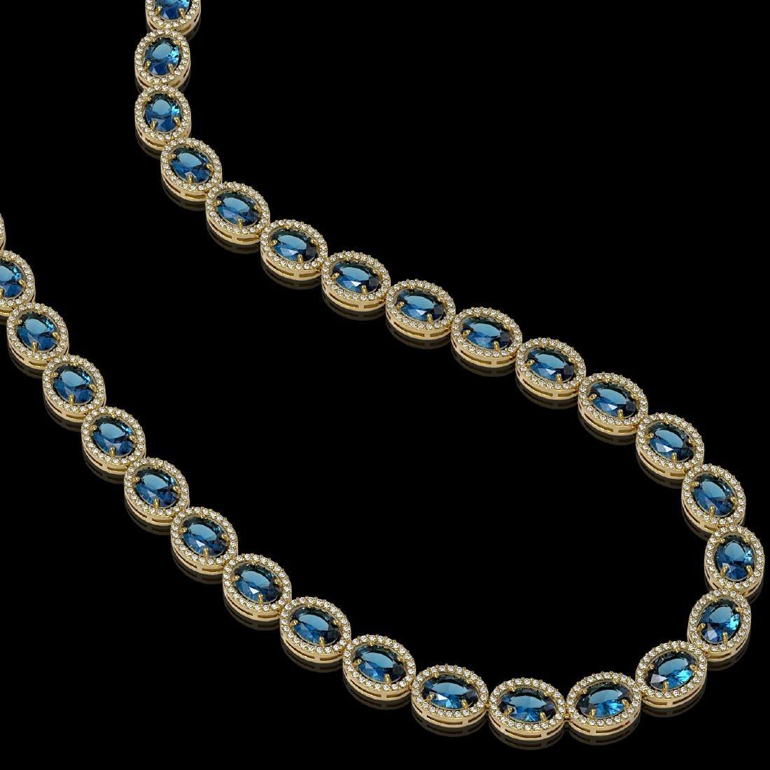 55.41 CTW London Topaz & Diamond Halo Necklace 10K - 2