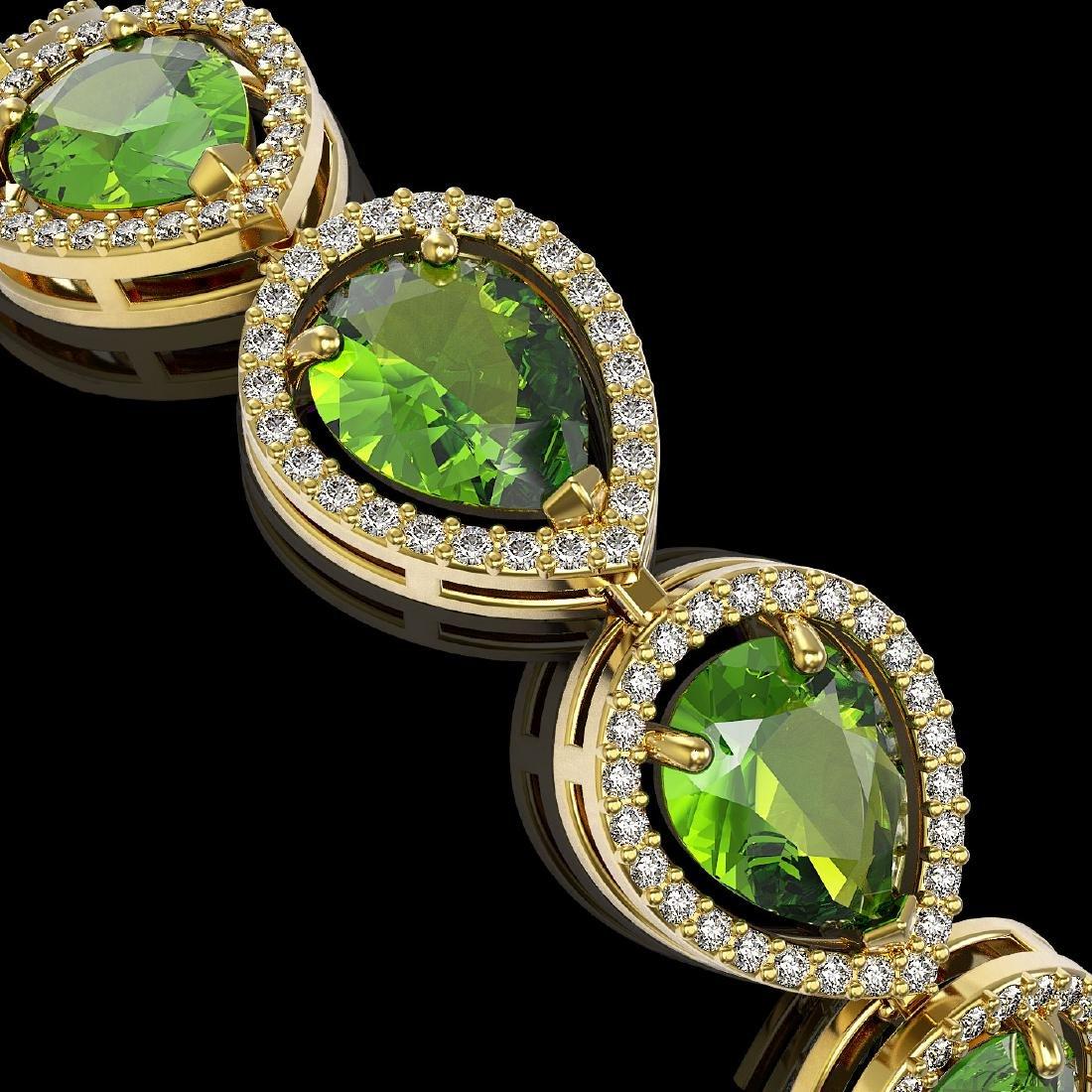 15.8 CTW Peridot & Diamond Halo Bracelet 10K Yellow - 3