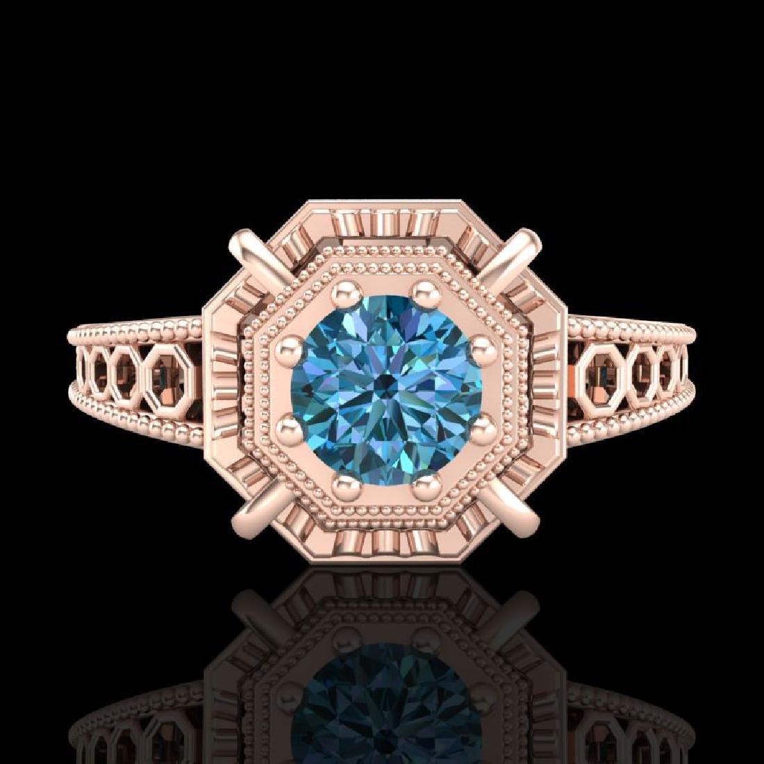 0.53 CTW Fancy Intense Blue Diamond Solitaire Art Deco - 2