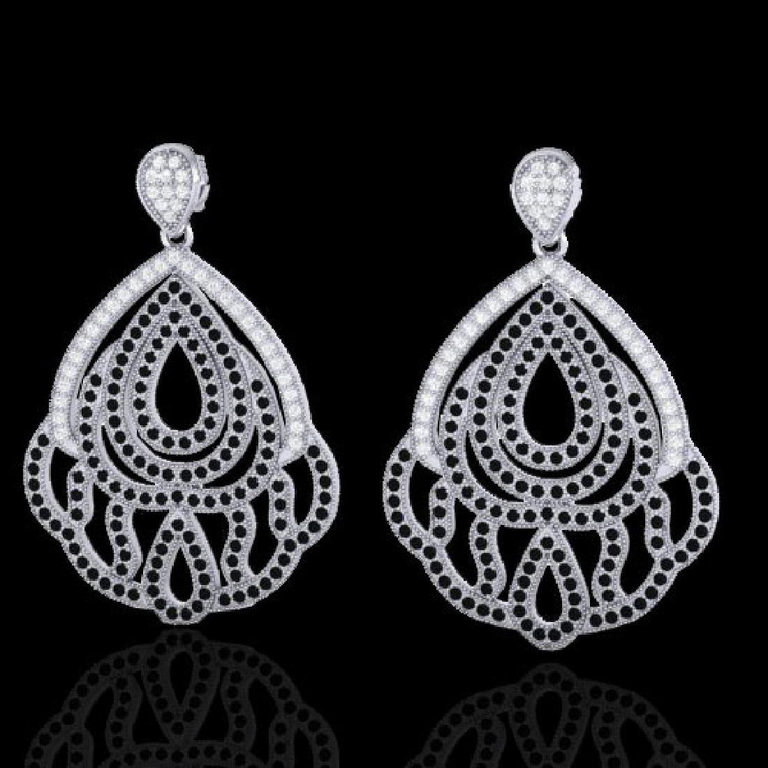 3 CTW Micro Pave Black & VS/SI Diamond Earrings