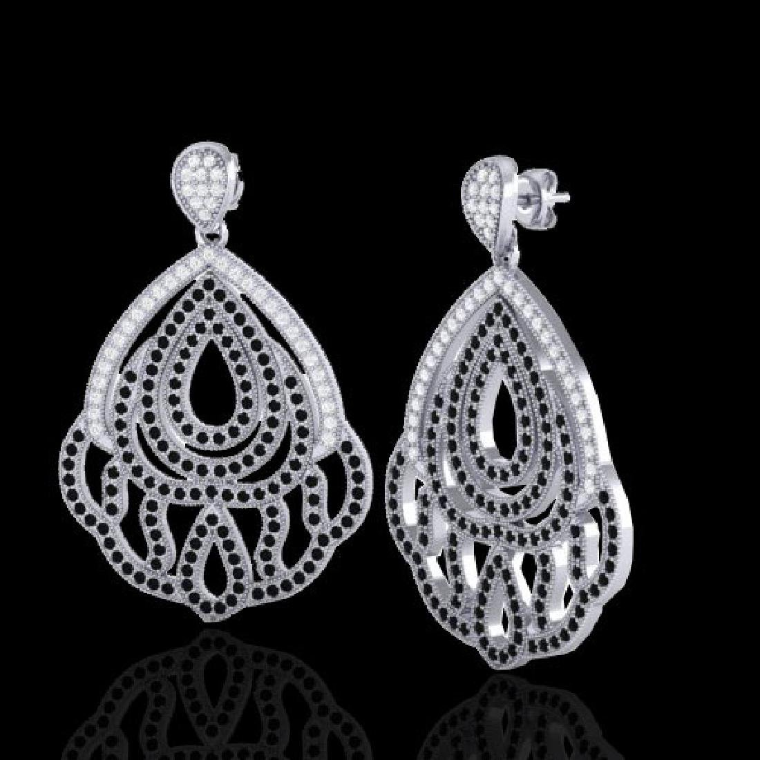 3 CTW Micro Pave Black & VS/SI Diamond Earrings - 2