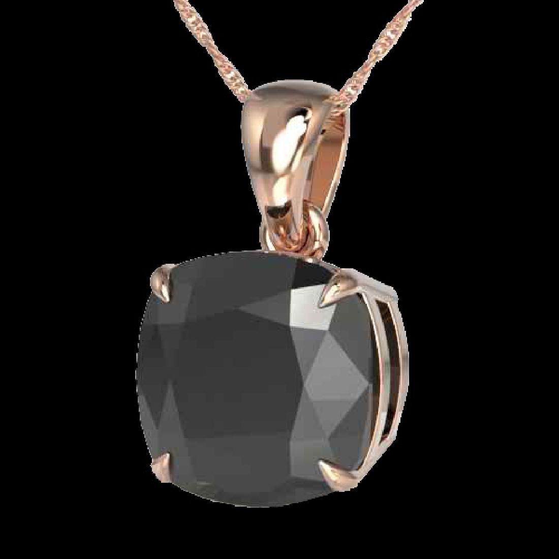 6 Cushion Cut Black VS/SI Diamond Designer Necklace 14K