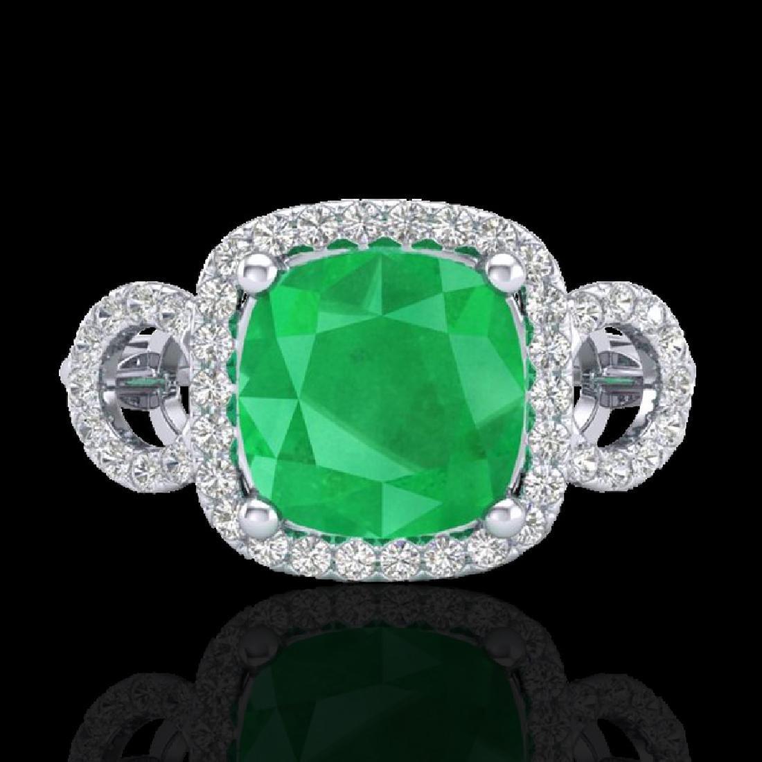 3.15 CTW Emerald & Micro VS/SI Diamond Ring 18K White