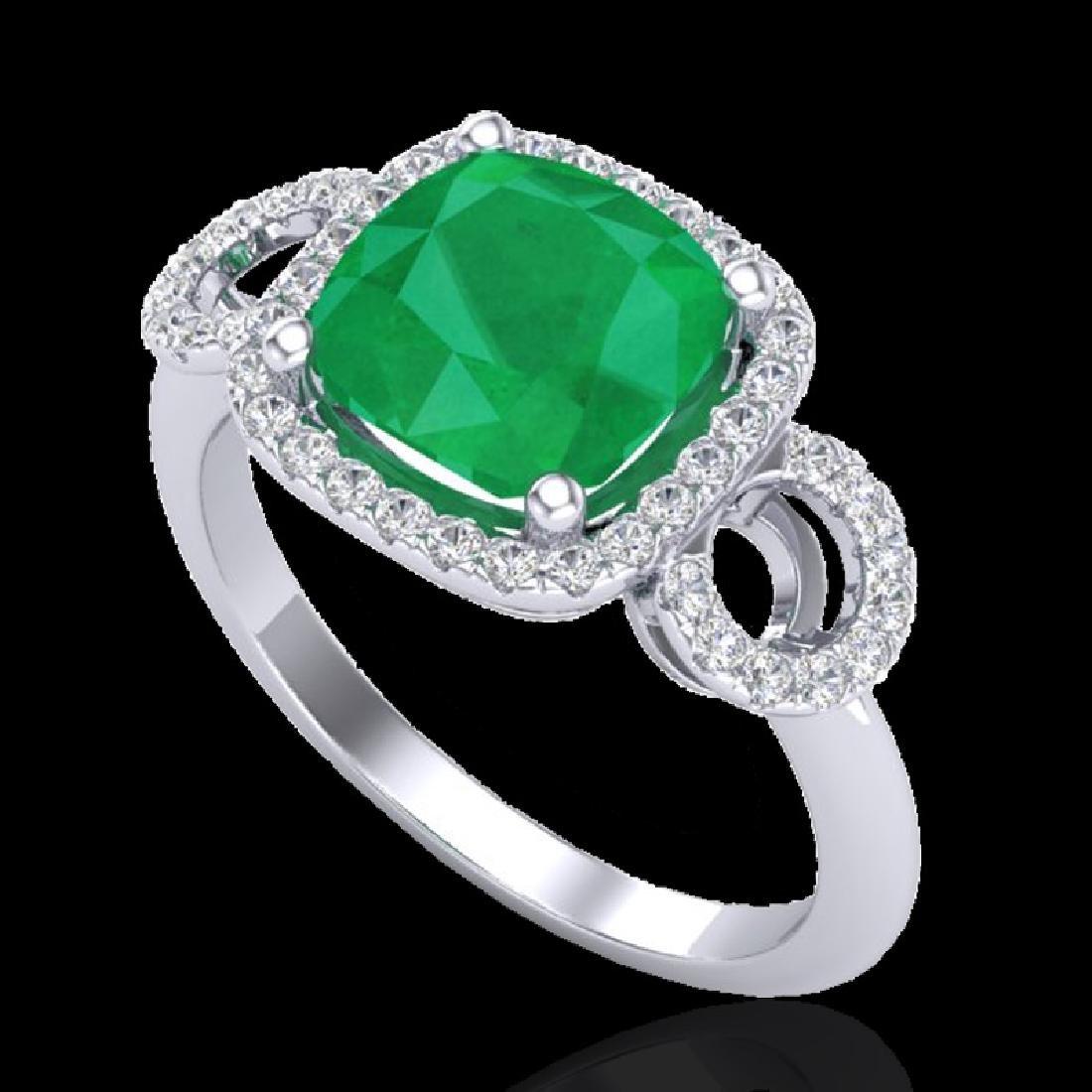 3.15 CTW Emerald & Micro VS/SI Diamond Ring 18K White - 2