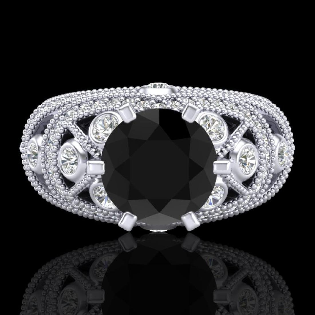 2 CTW Fancy Black Diamond Solitaire Engagement Art Deco - 2