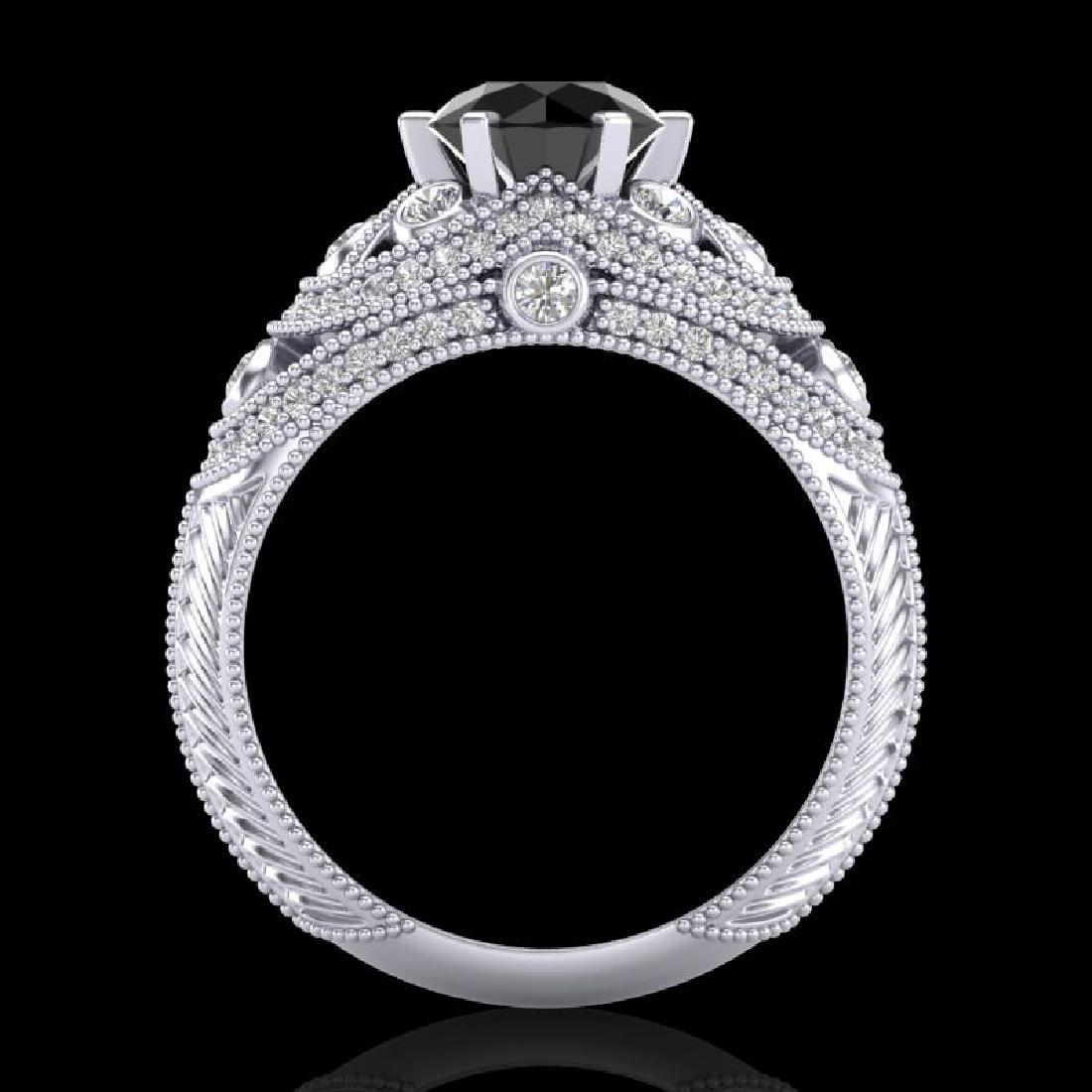 2 CTW Fancy Black Diamond Solitaire Engagement Art Deco - 3