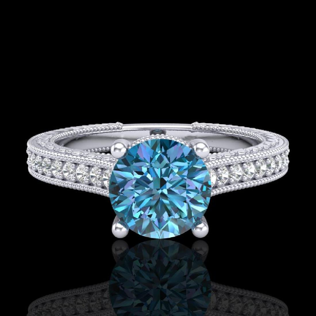 1.45 CTW Fancy Intense Blue Diamond Solitaire Art Deco - 2