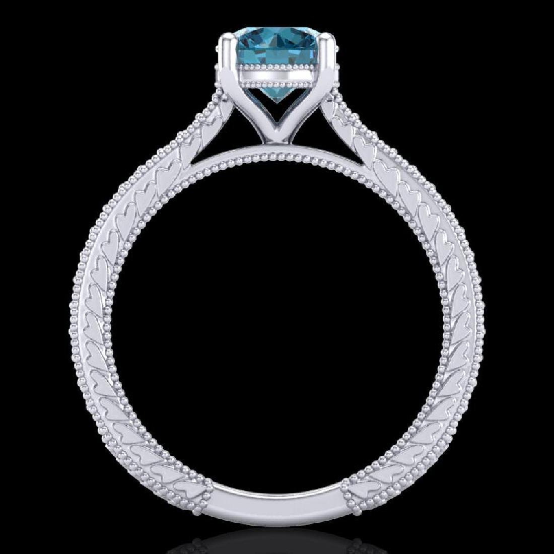 1.45 CTW Fancy Intense Blue Diamond Solitaire Art Deco - 3