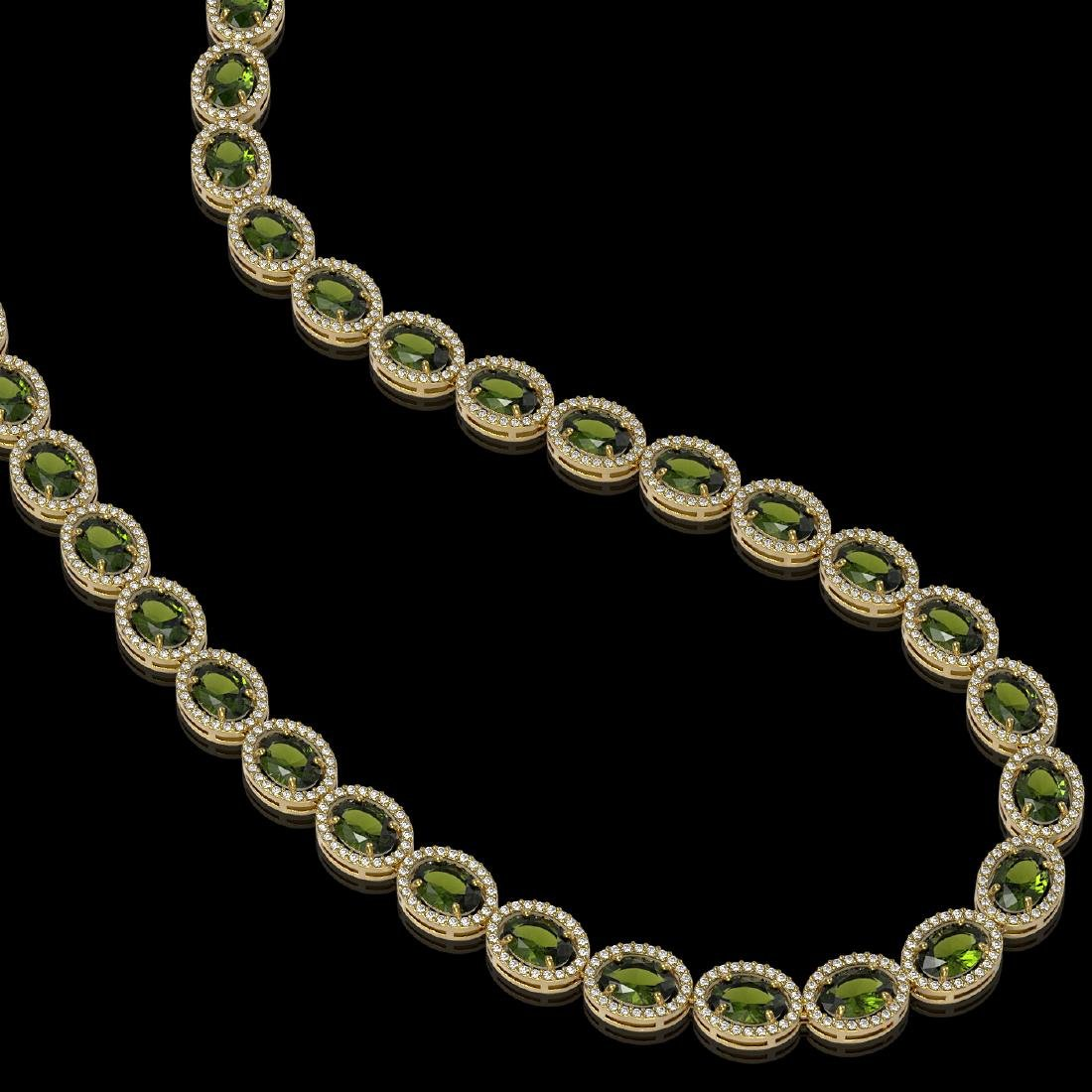 49.46 CTW Tourmaline & Diamond Halo Necklace 10K Yellow - 2