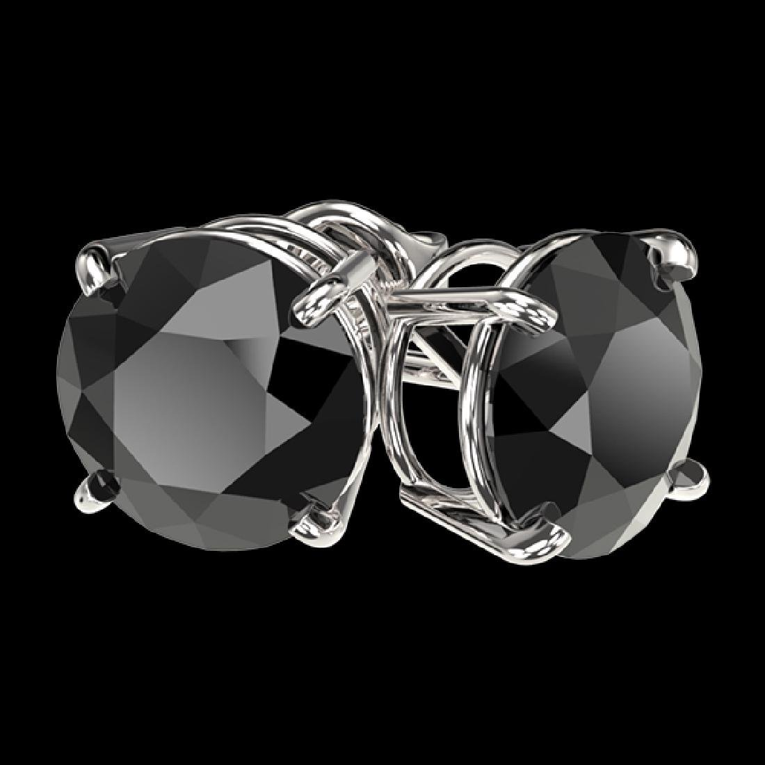 3 CTW Fancy Black VS Diamond Solitaire Stud Earrings - 3
