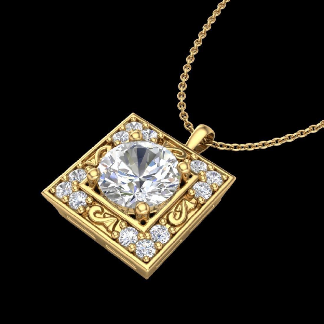 1.02 CTW VS/SI Diamond Solitaire Art Deco Necklace 18K