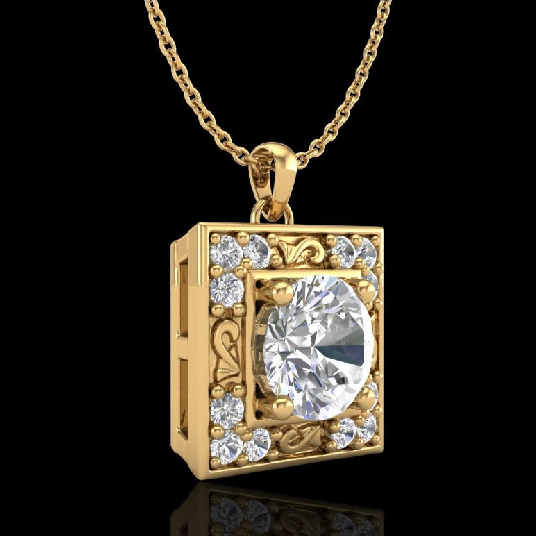 1.02 CTW VS/SI Diamond Solitaire Art Deco Necklace 18K - 2