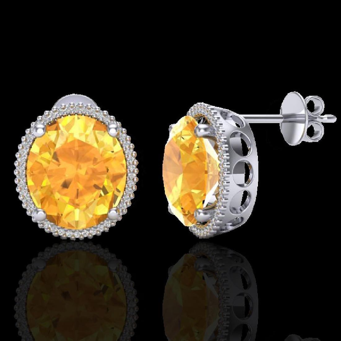 20 CTW Citrine & Micro Pave VS/SI Diamond Halo Earrings - 2