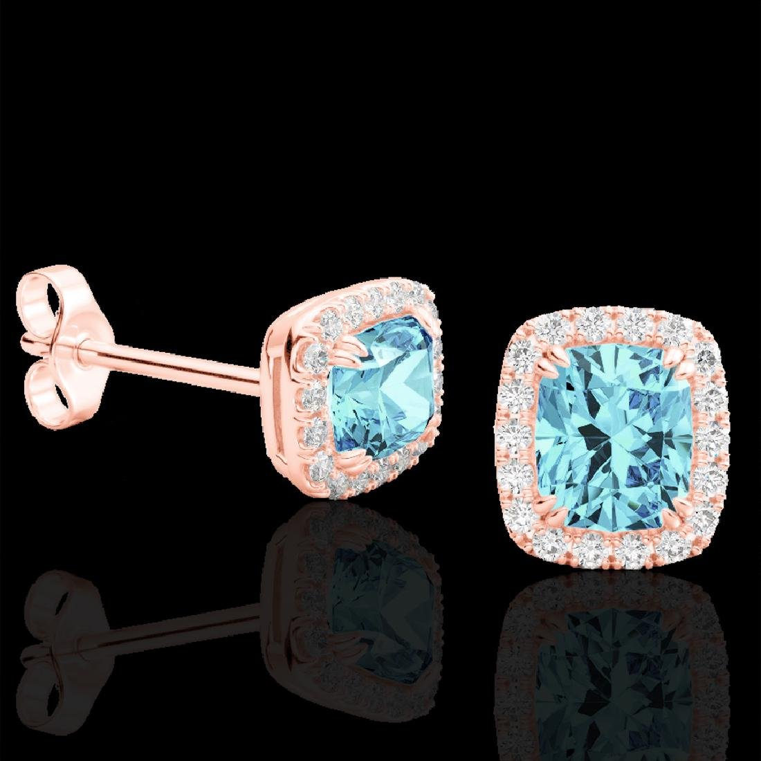 2.50 CTW Sky Blue Topaz & Micro VS/SI Diamond Halo - 2