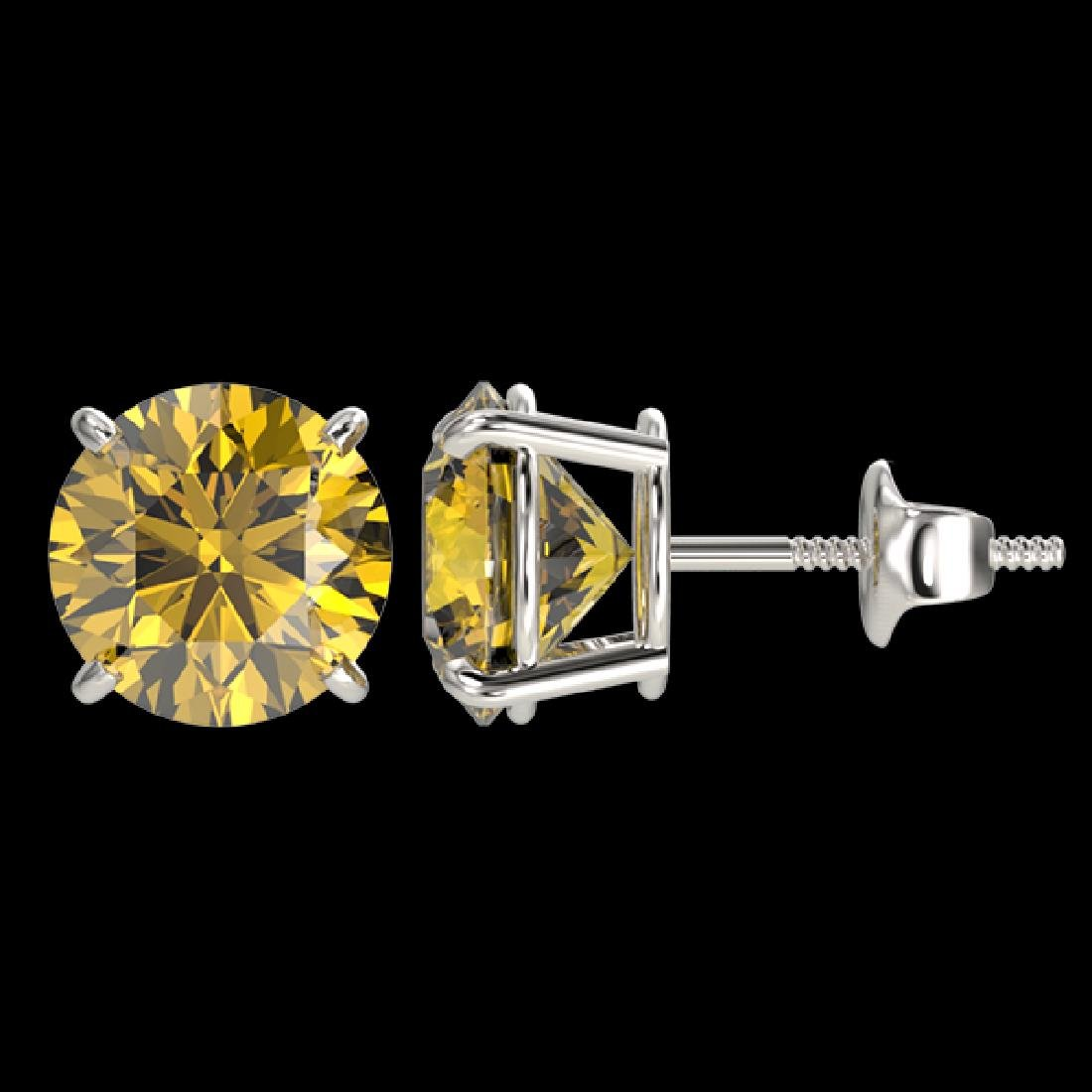 3 CTW Certified Intense Yellow SI Diamond Solitaire - 2
