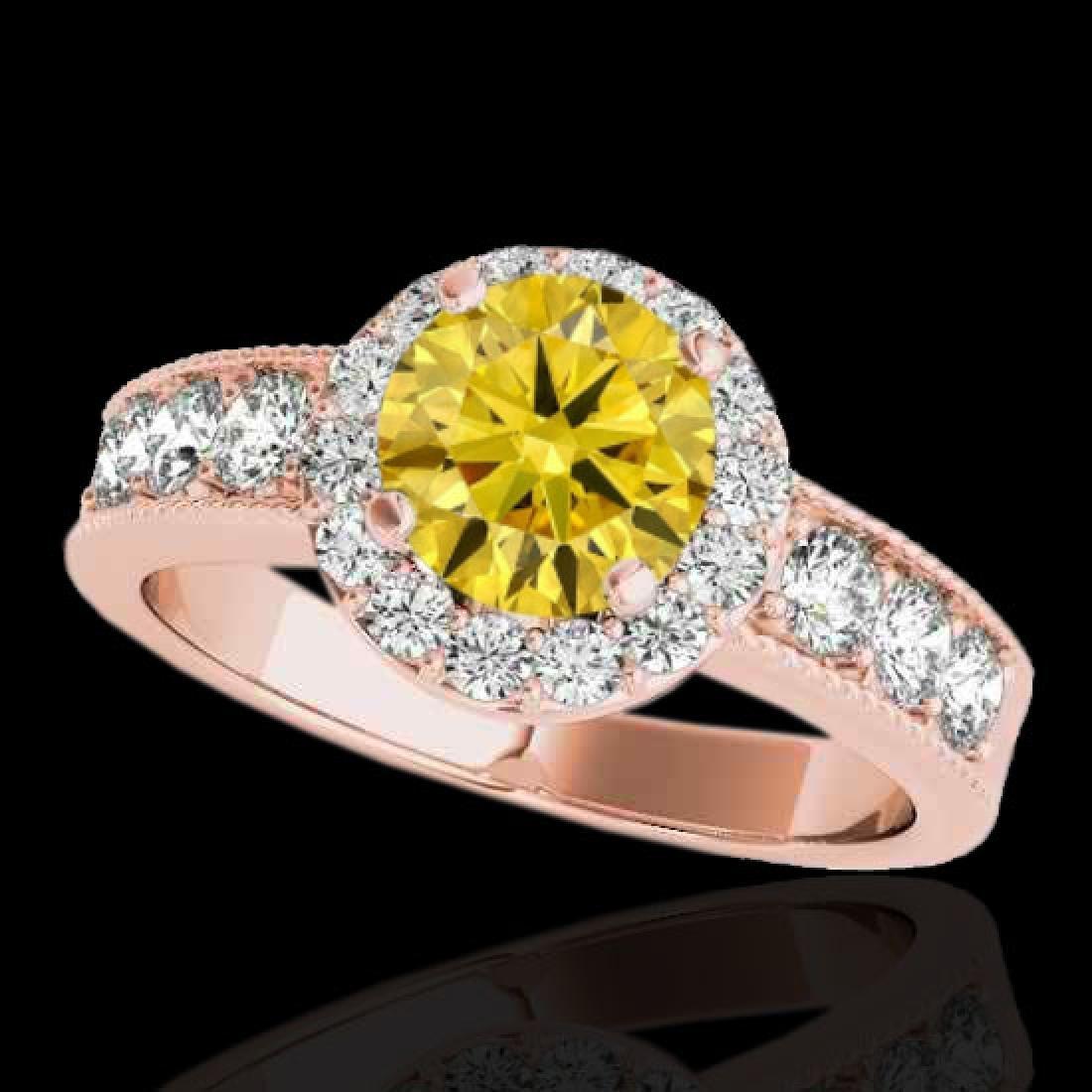 1.85 CTW Certified SI/I Fancy Intense Yellow Diamond