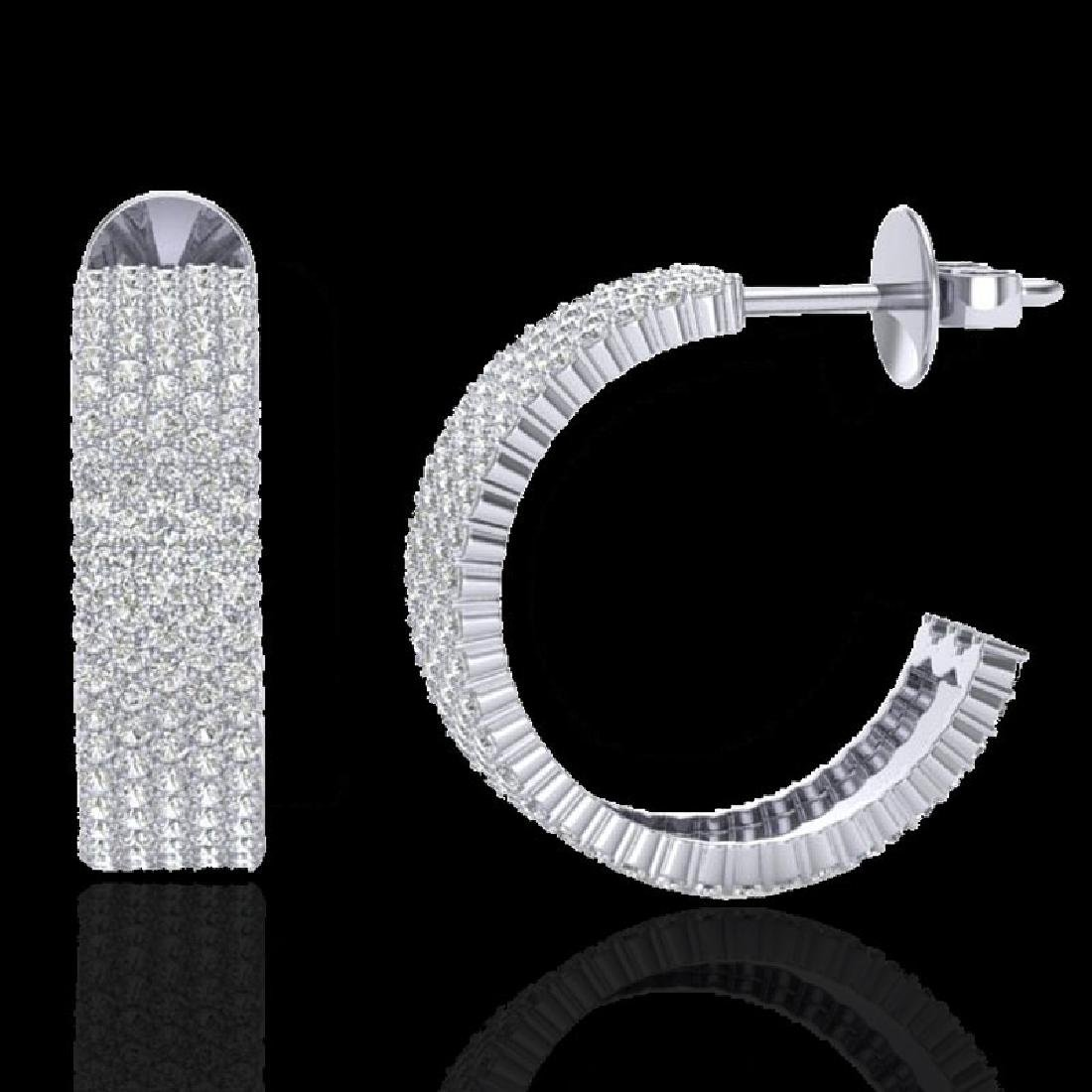 4.50 CTW Micro Pave VS/SI Diamond Earrings 14K White - 2