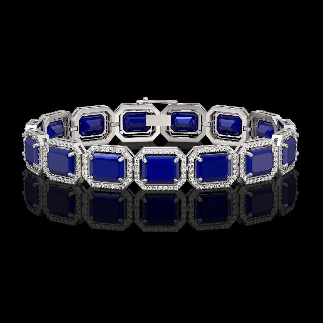 38.61 CTW Sapphire & Diamond Halo Bracelet 10K White