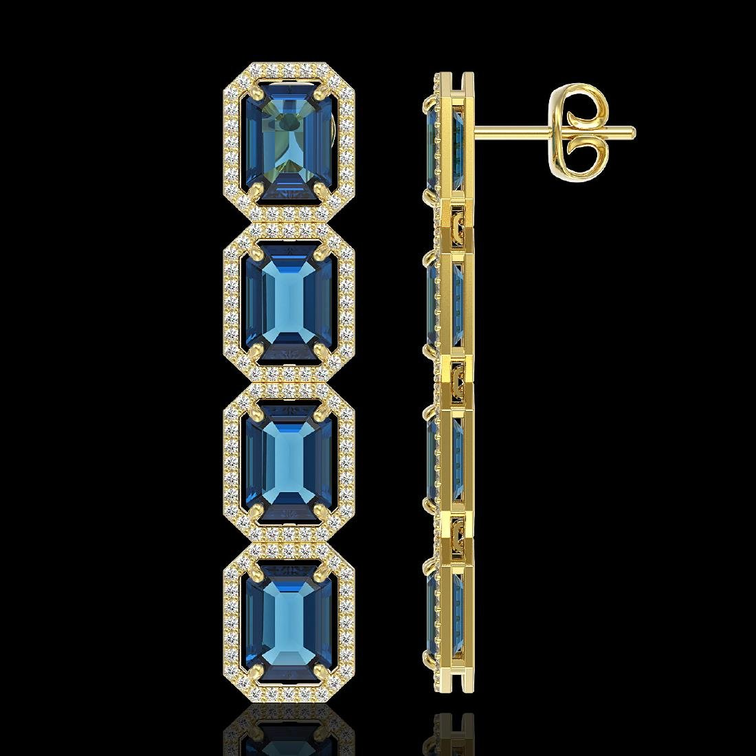 18.99 CTW London Topaz & Diamond Halo Earrings 10K - 2