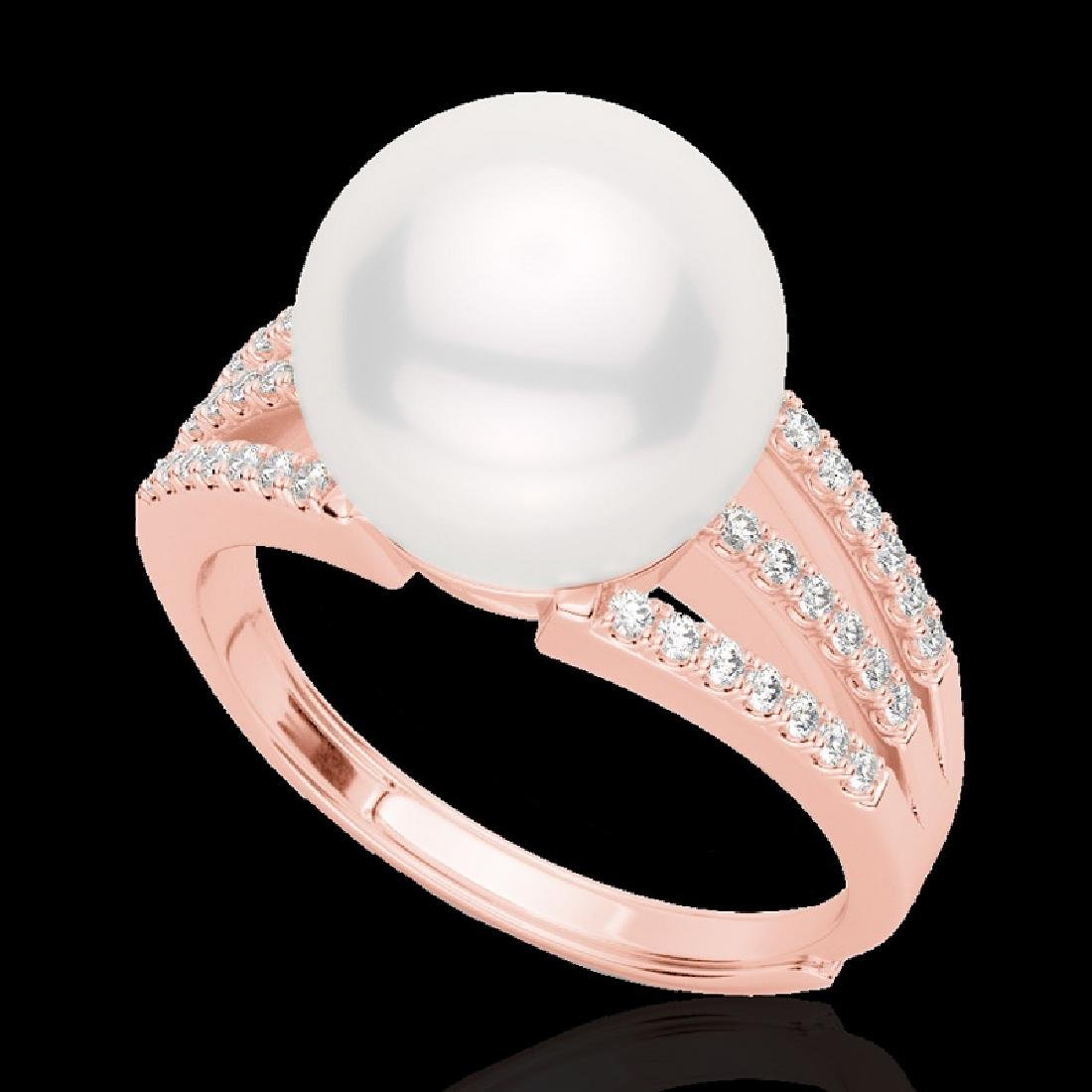 0.30 CTW Micro Pave VS/SI Diamond & Pearl Designer Ring - 2