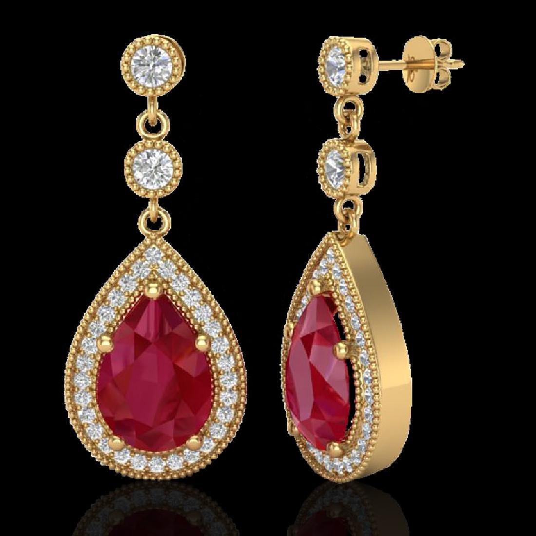 6 CTW Ruby & Micro Pave VS/SI Diamond Earrings Designer - 2