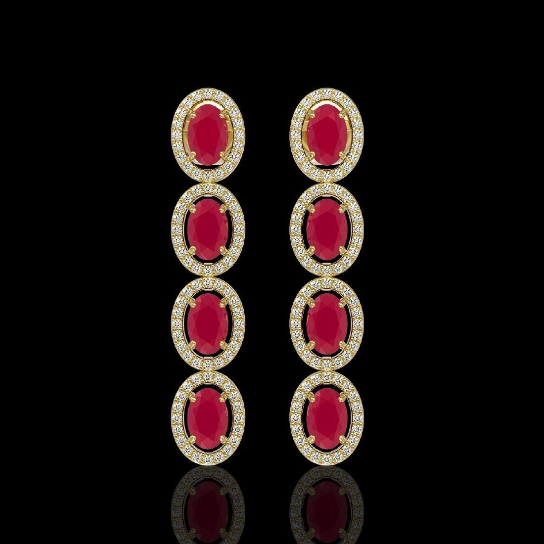 6.47 CTW Ruby & Diamond Halo Earrings 10K Yellow Gold