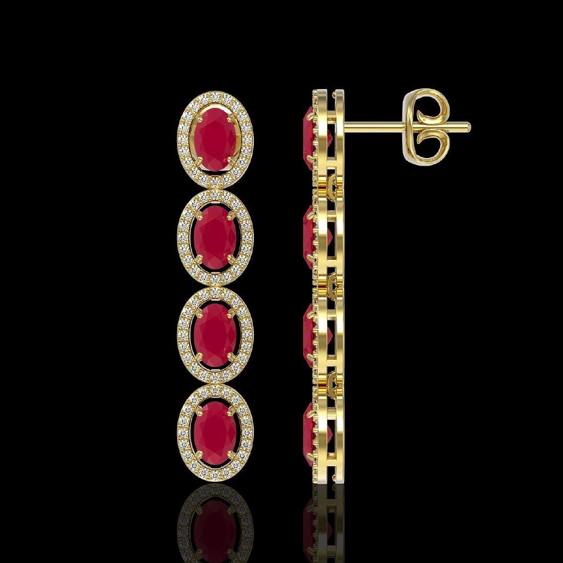 6.47 CTW Ruby & Diamond Halo Earrings 10K Yellow Gold - 2