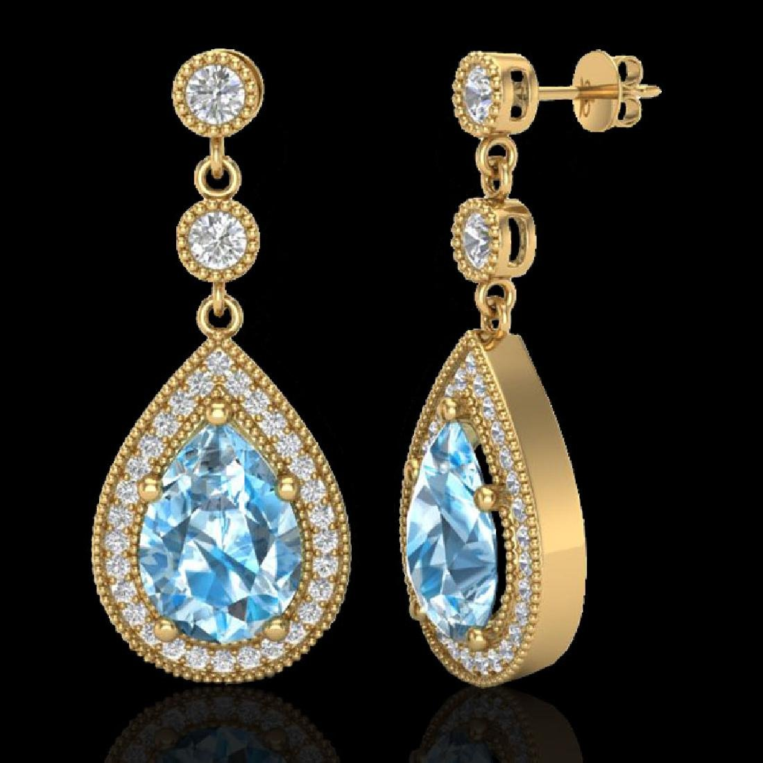 7.50 CTW Sky Topaz & Micro Pave VS/SI Diamond Earrings - 2