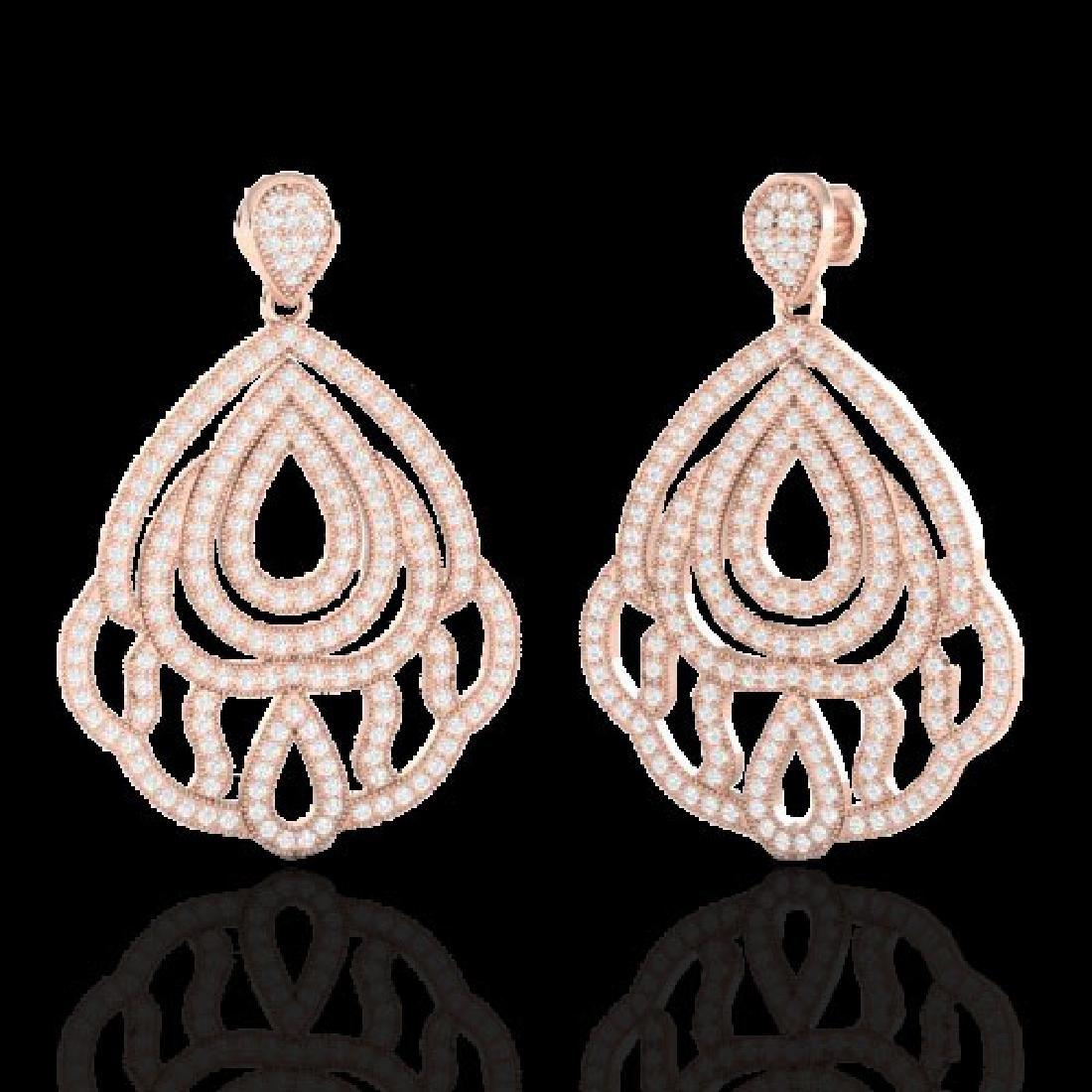 3 CTW Micro Pave VS/SI Diamond Earrings Designer 14K
