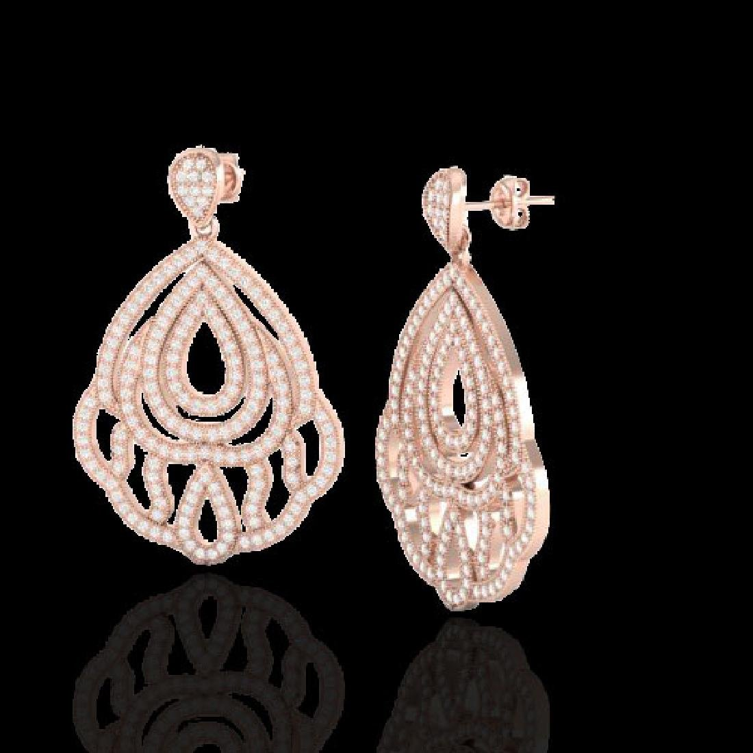 3 CTW Micro Pave VS/SI Diamond Earrings Designer 14K - 2