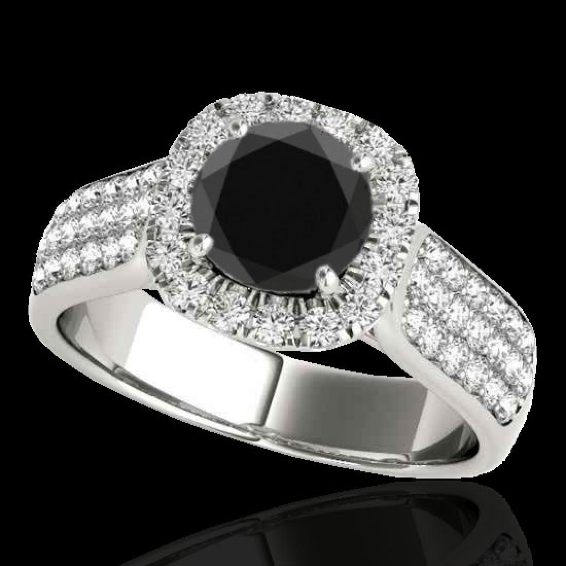 1.8 CTW Certified VS Black Diamond Solitaire Halo Ring