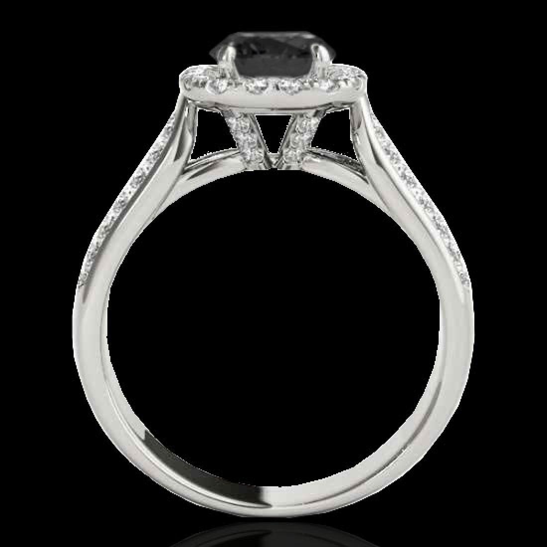 1.8 CTW Certified VS Black Diamond Solitaire Halo Ring - 2