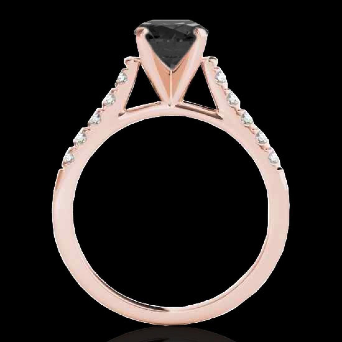 1.45 CTW Certified VS Black Diamond Solitaire Ring 10K - 2