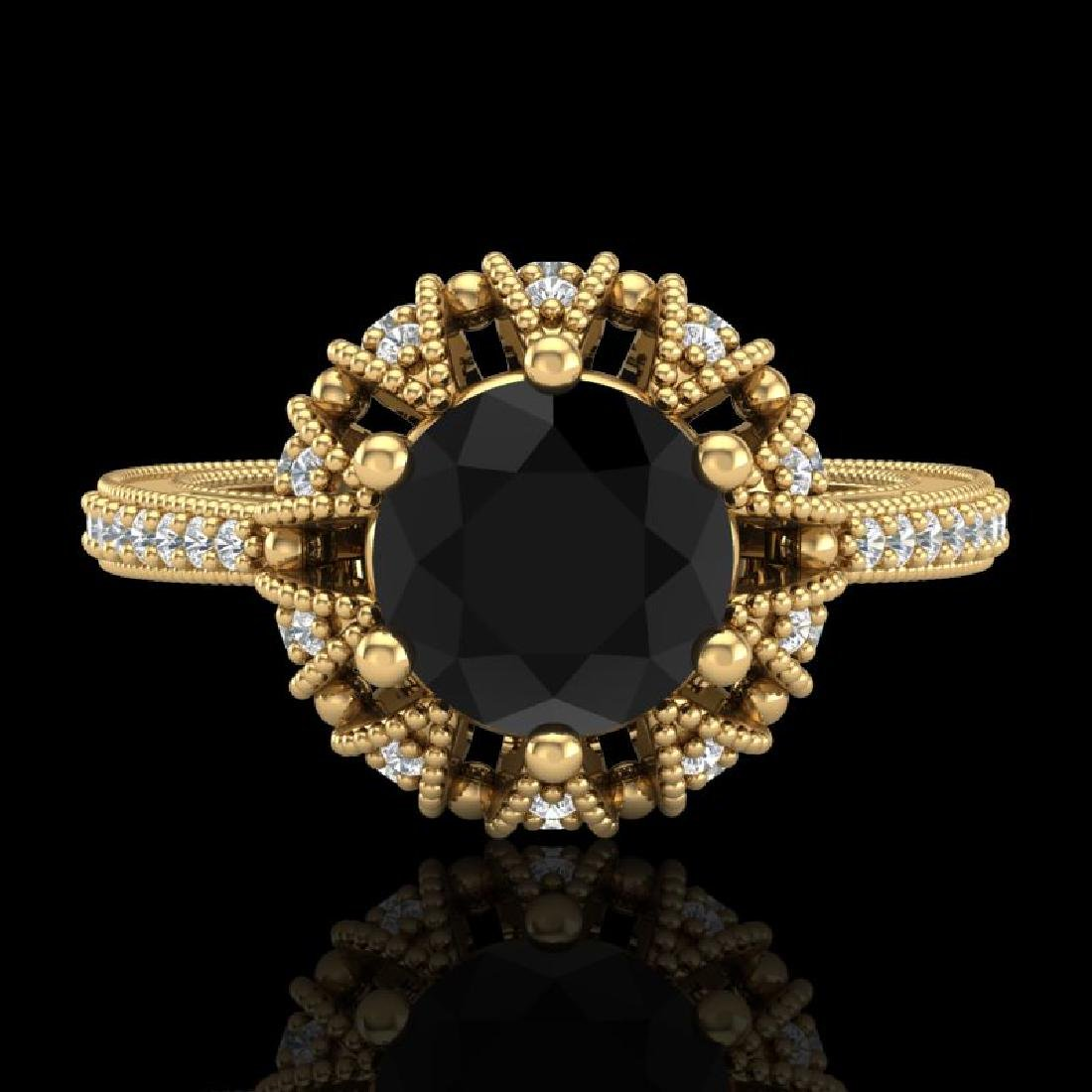 1.65 CTW Fancy Black Diamond Engagement Art Deco Micro - 2