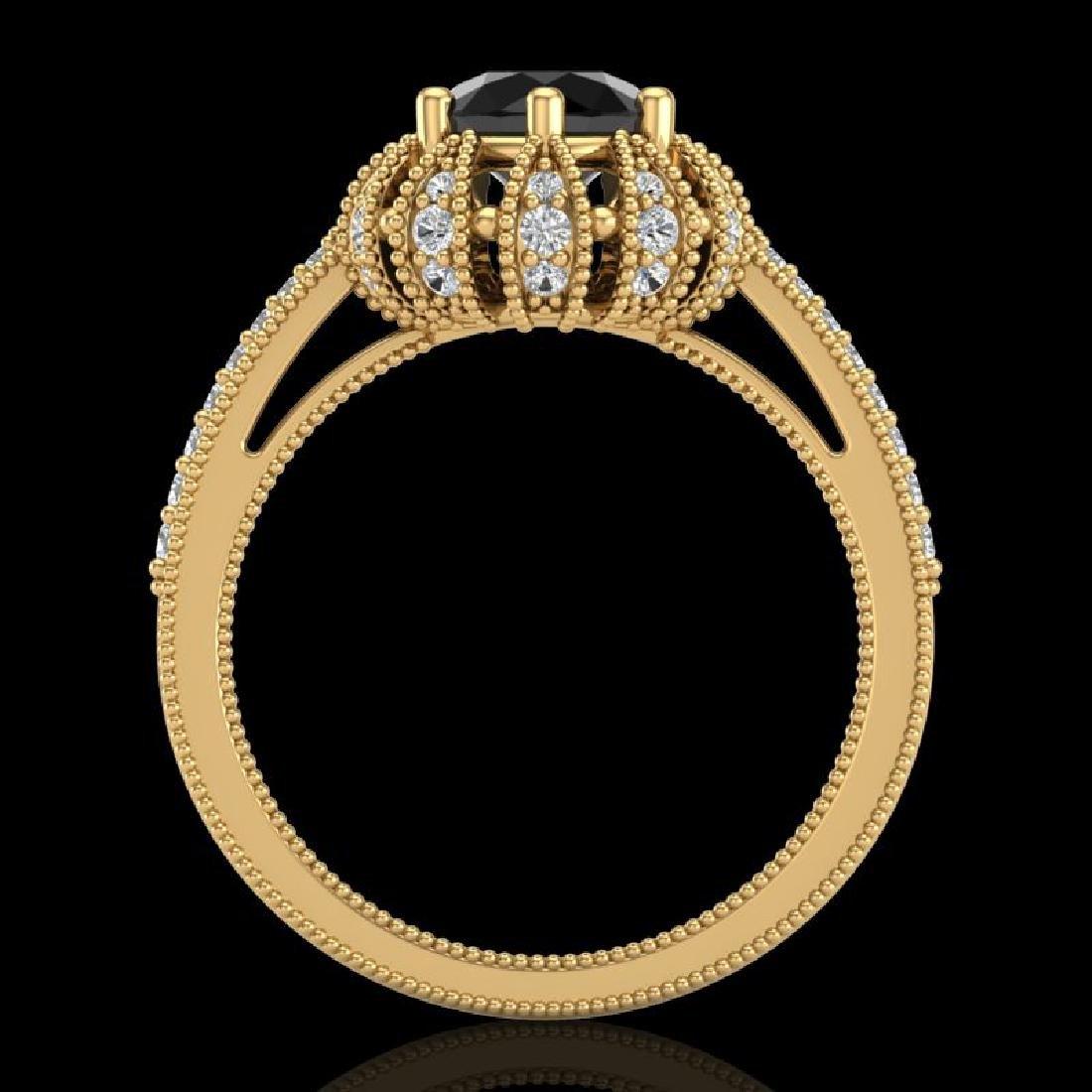 1.65 CTW Fancy Black Diamond Engagement Art Deco Micro - 3