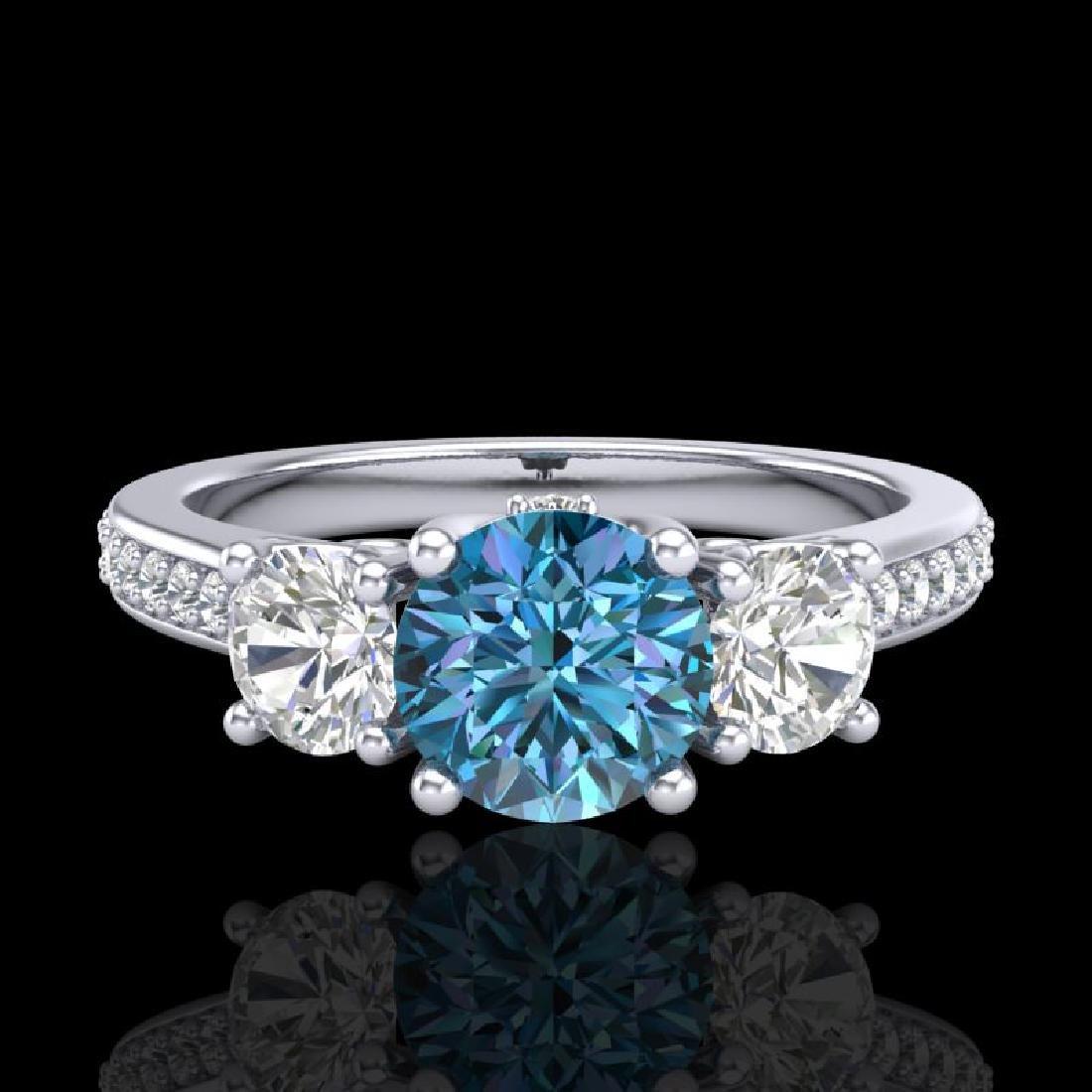 1.67 CTW Intense Blue Diamond Solitaire Art Deco 3 - 2