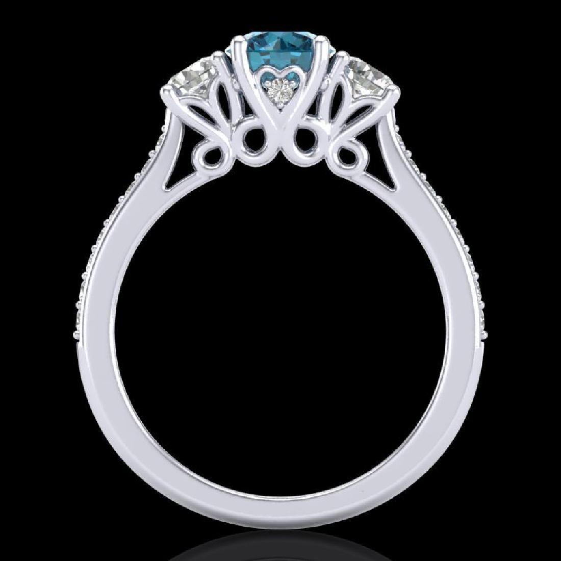 1.67 CTW Intense Blue Diamond Solitaire Art Deco 3 - 3