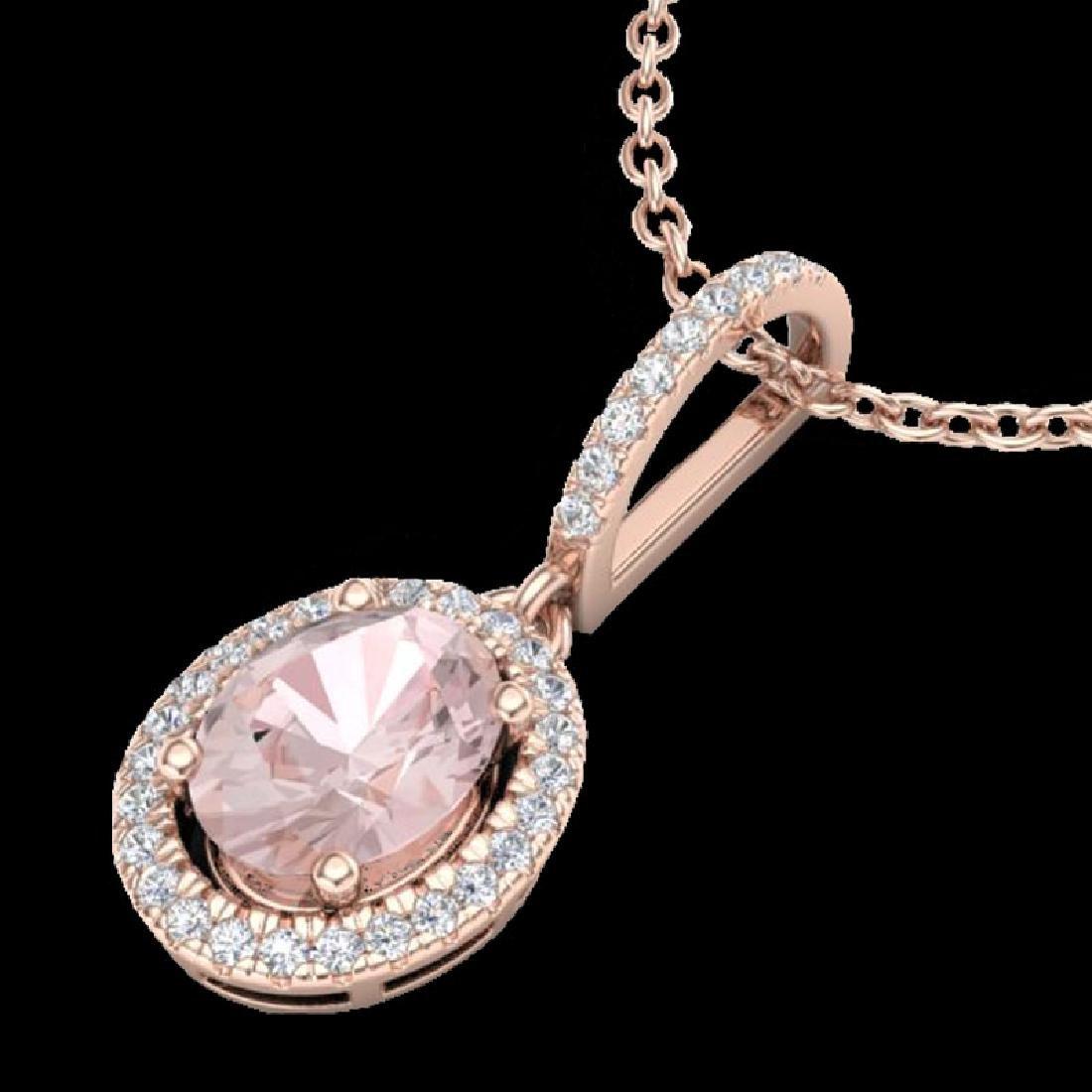 1.60 CTW Morganite & Micro VS/SI Diamond Necklace - 2