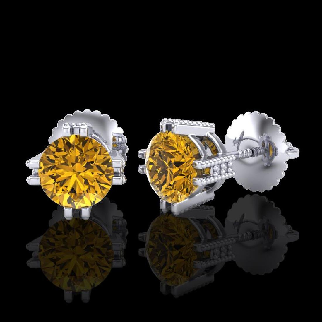 1.07 CTW Intense Fancy Yellow Diamond Art Deco Stud - 2