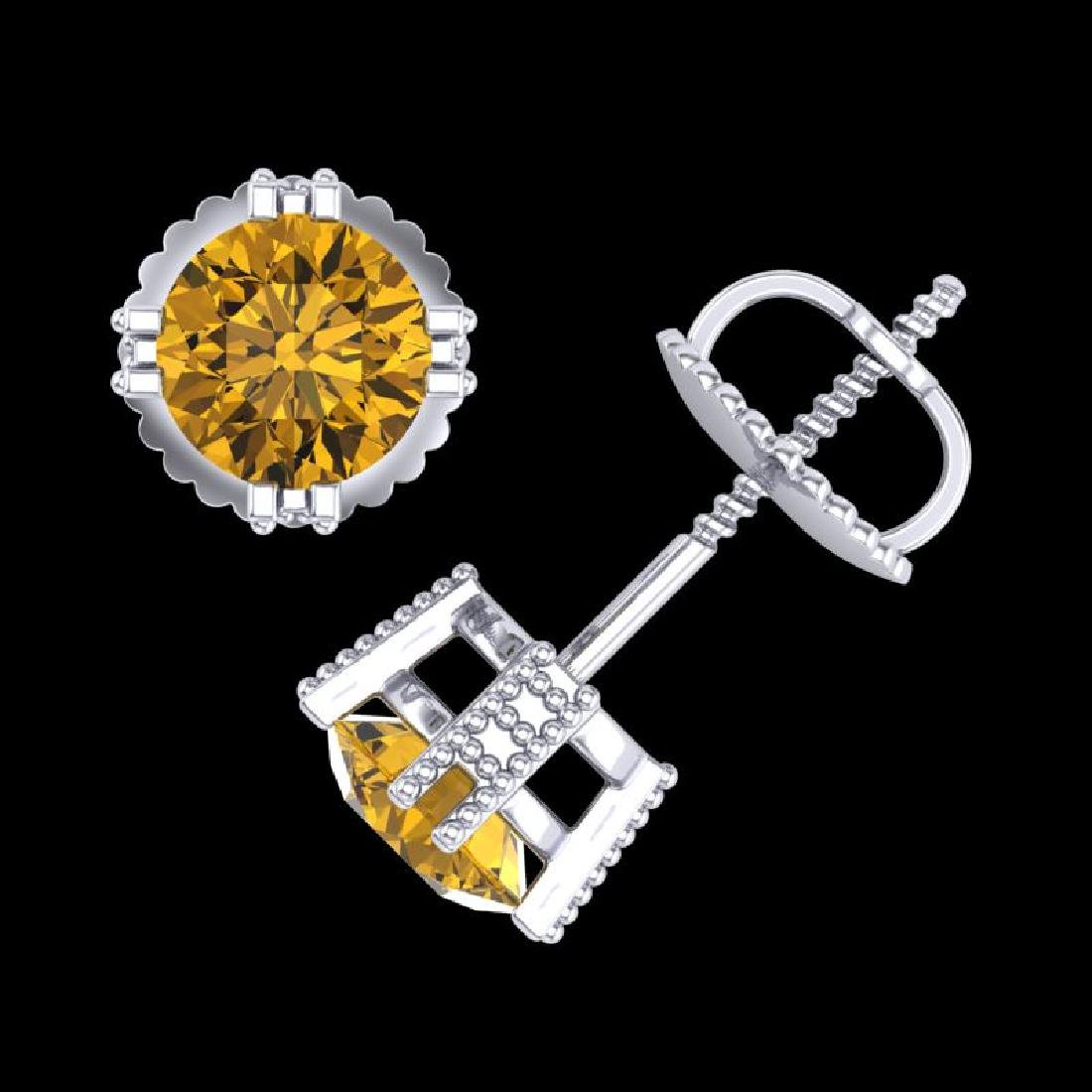 1.07 CTW Intense Fancy Yellow Diamond Art Deco Stud - 3
