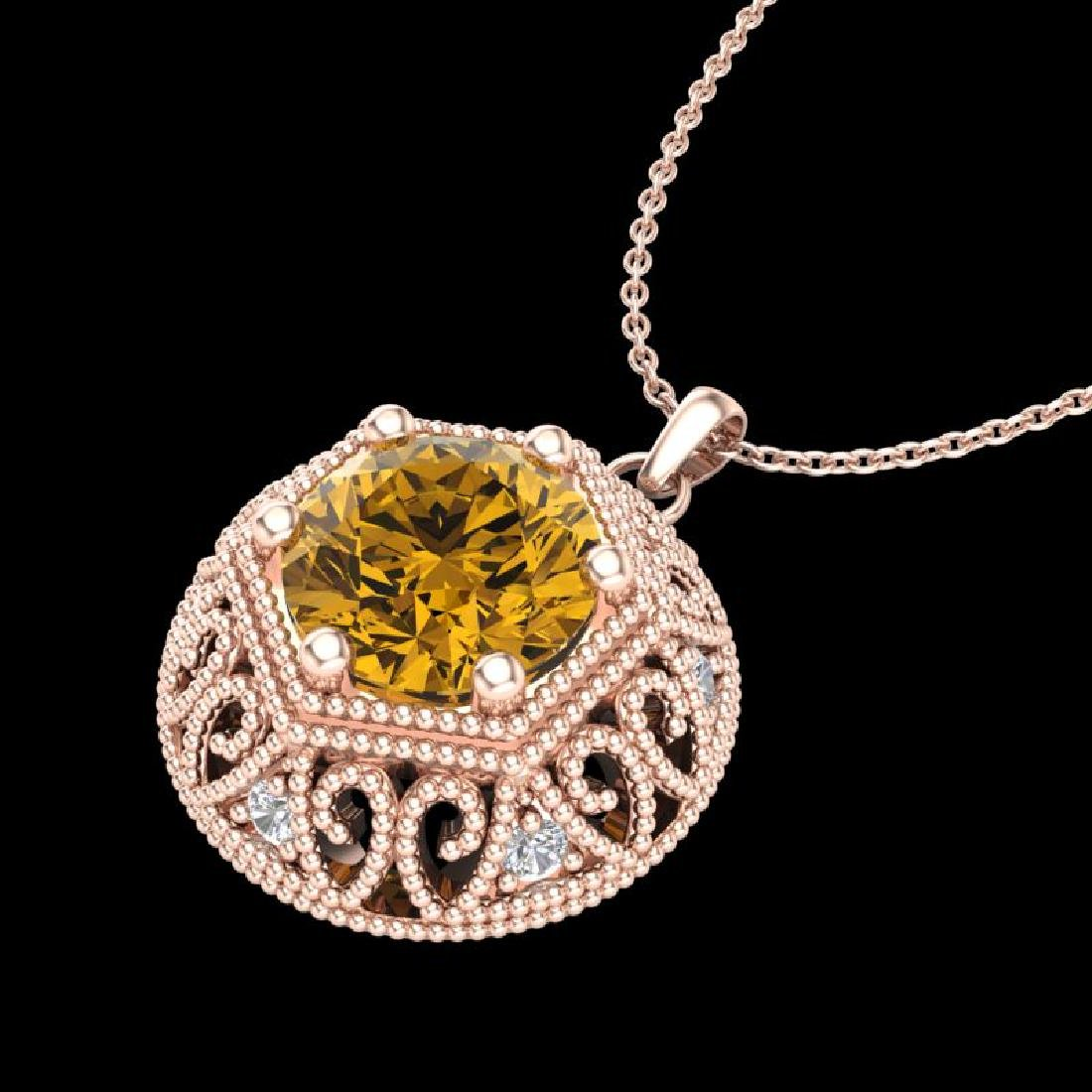 1.11 CTW Intense Fancy Yellow Diamond Art Deco Stud - 2
