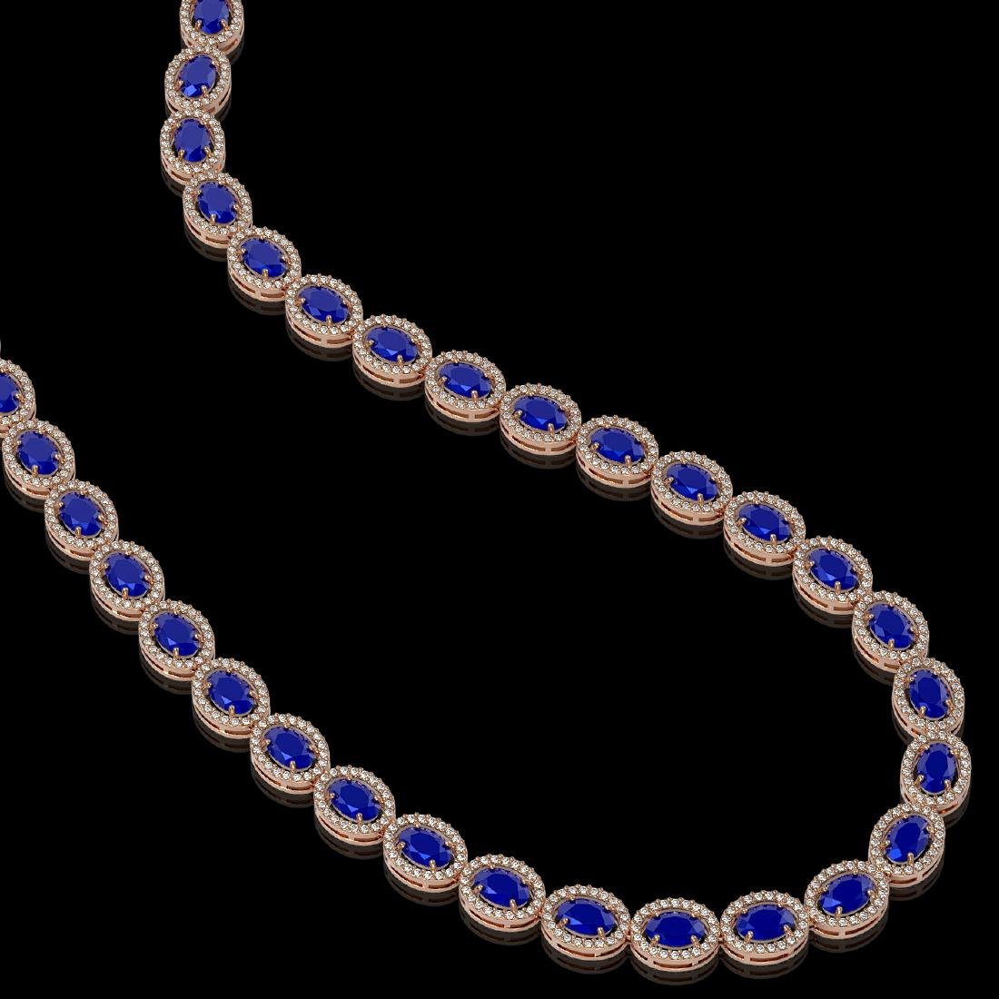 34.11 CTW Sapphire & Diamond Halo Necklace 10K Rose - 2