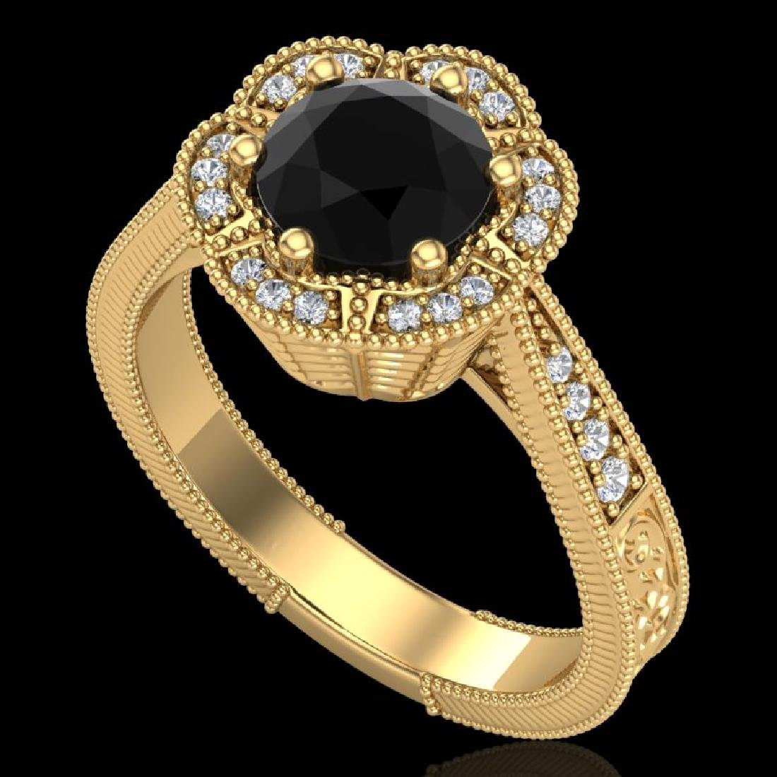 1.33 CTW Fancy Black Diamond Solitaire Engagement Art