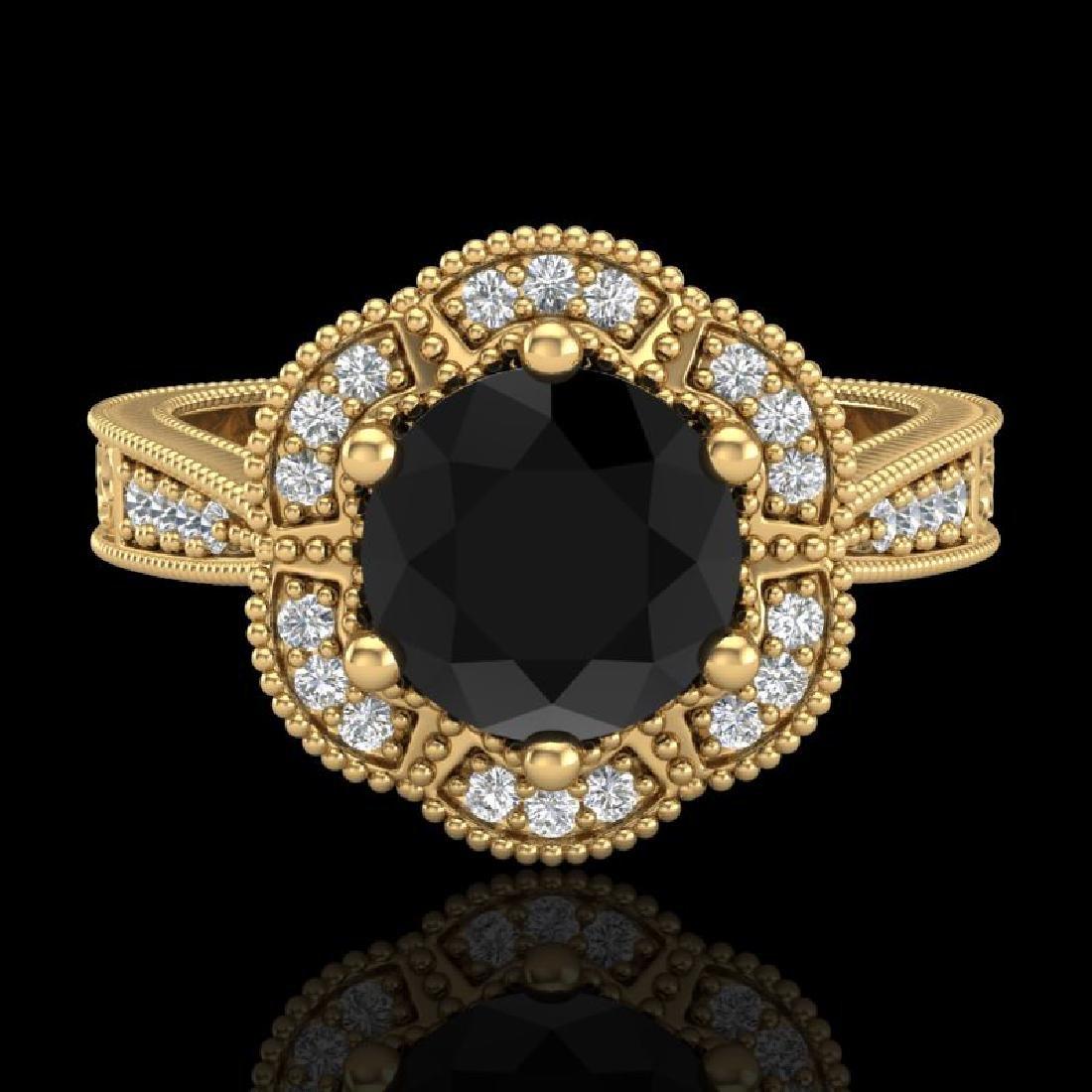 1.33 CTW Fancy Black Diamond Solitaire Engagement Art - 2