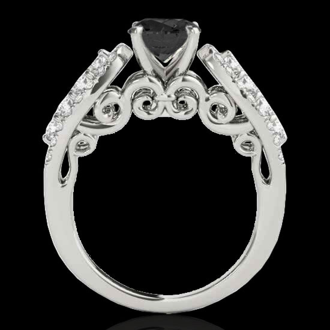 2 CTW Certified VS Black Diamond Solitaire Ring 10K - 2