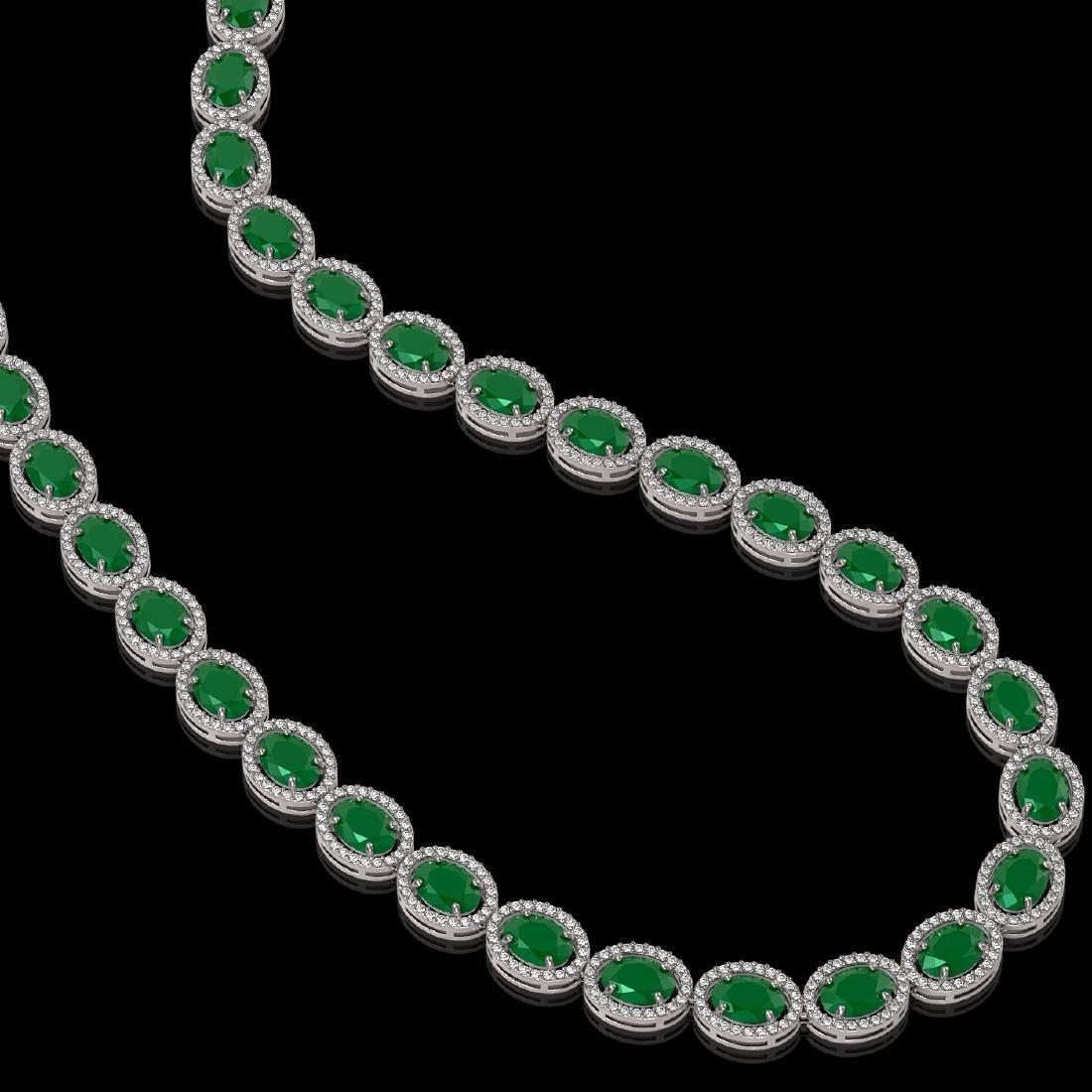 52.15 CTW Emerald & Diamond Halo Necklace 10K White - 2