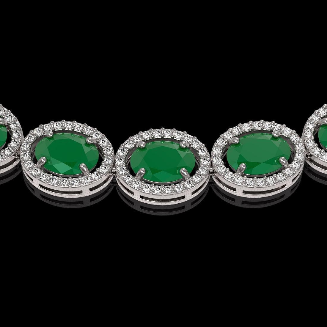 52.15 CTW Emerald & Diamond Halo Necklace 10K White - 3