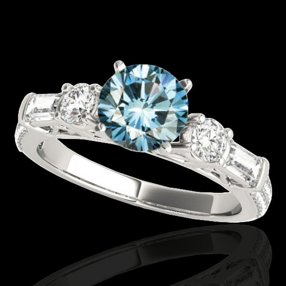 2 CTW SI Certified Fancy Blue Diamond Pave Solitaire