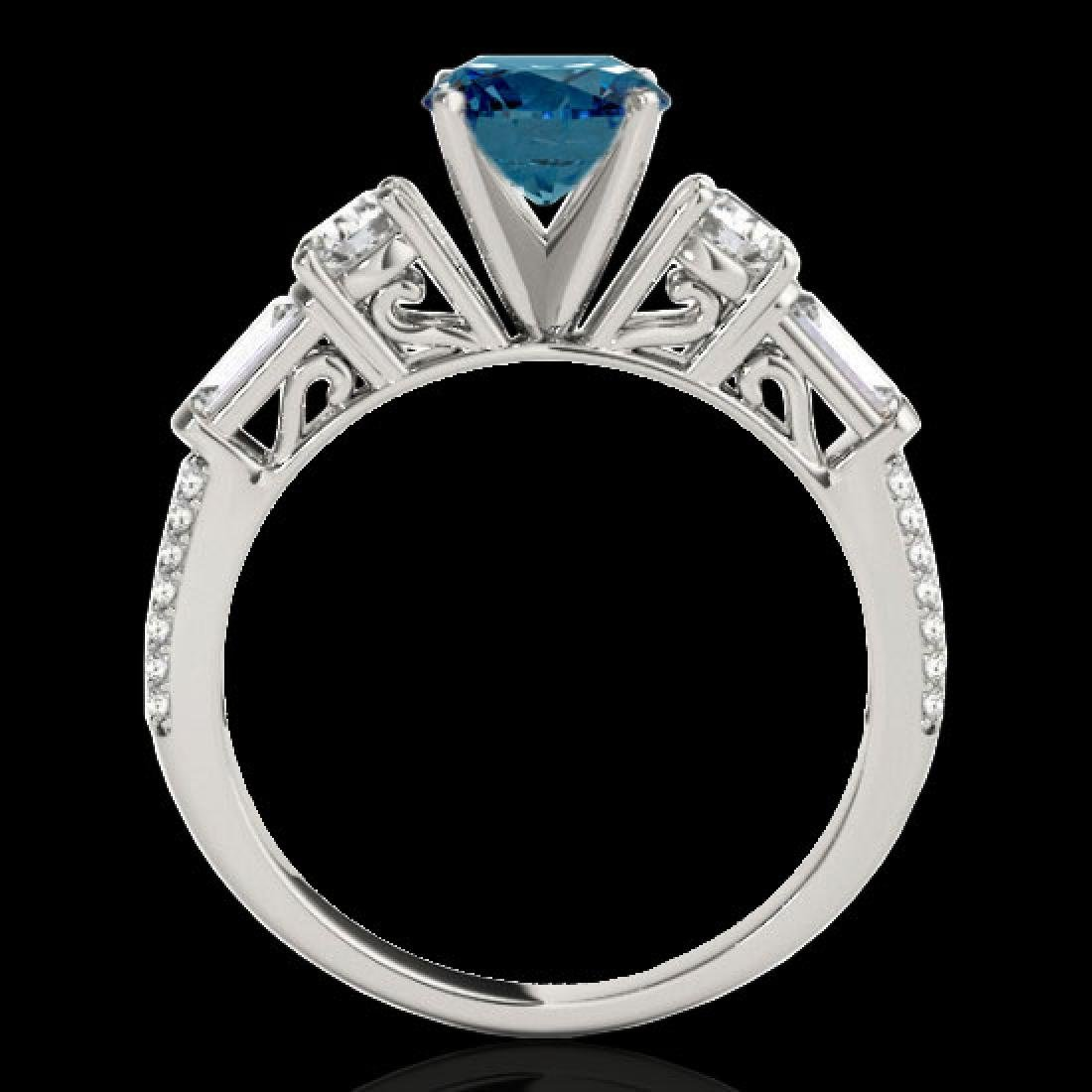 2 CTW SI Certified Fancy Blue Diamond Pave Solitaire - 2