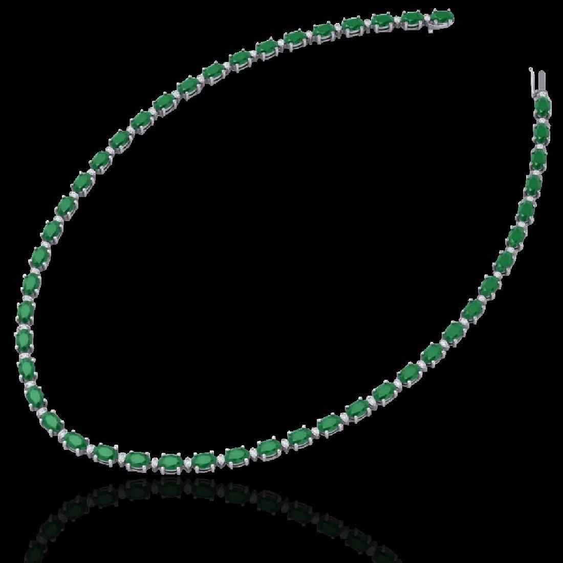 35 CTW Emerald & VS/SI Diamond Eternity Tennis Necklace - 2